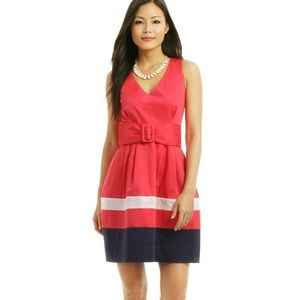 Kate Spade Pink Sawyer Belted Summer Stripe Dress